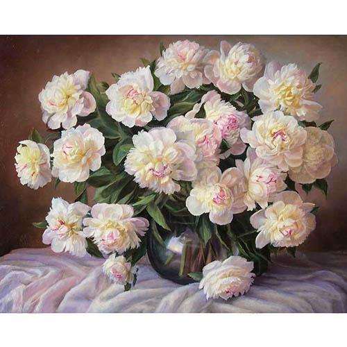White flowers painting by numbers picavy white flowers painting by numbers without frame mightylinksfo