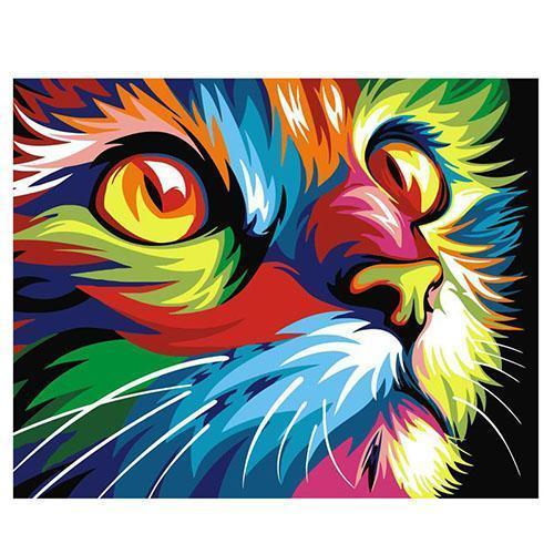 Colorful neon cat (Painting by Numbers)