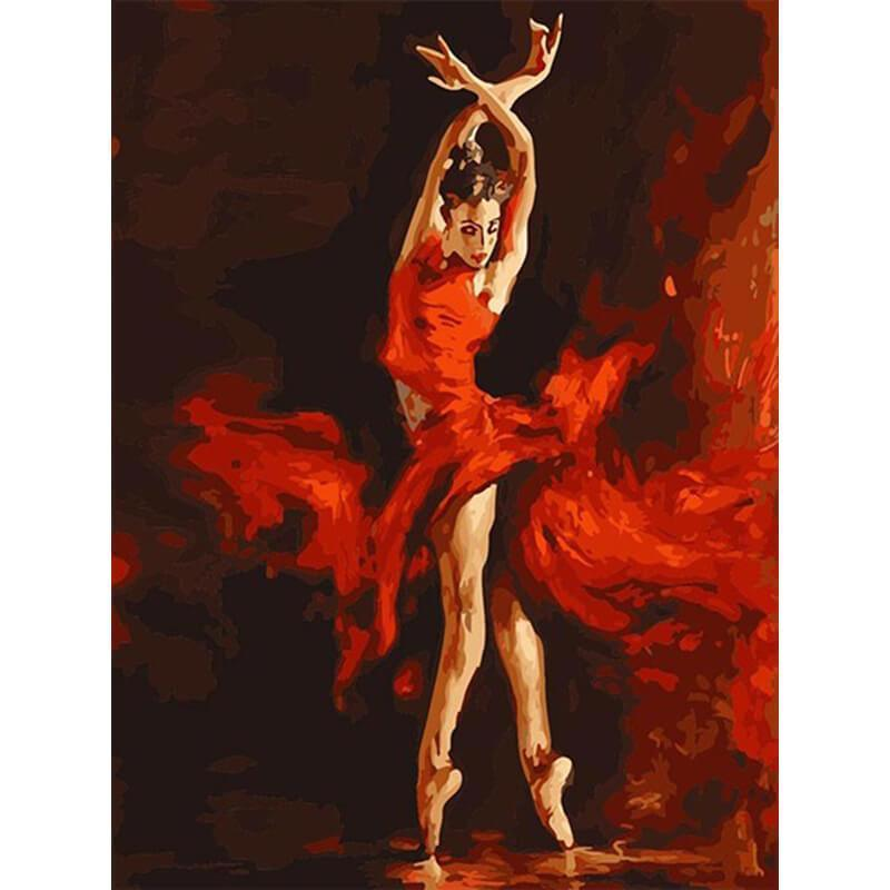 The dancer in a red dress (Painting by Numbers)