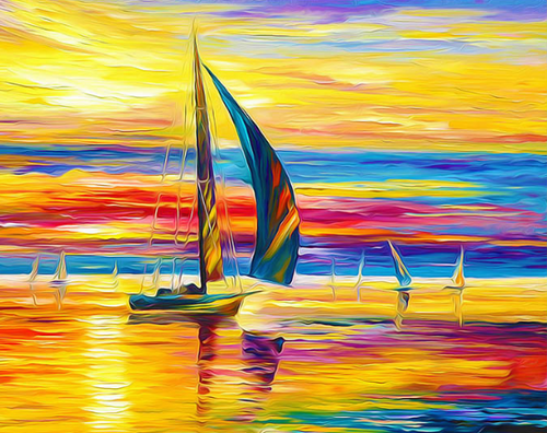 Sailboat in sunset (Painting by Numbers)