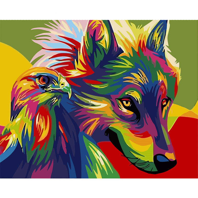 Colourful Wolf and Eagle (Painting by Numbers)