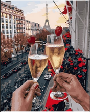Date in Paris with Champagne  (Painting by Numbers)
