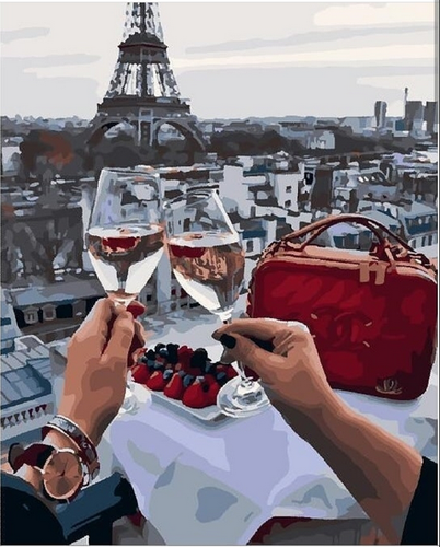 Date in Paris with wine  (Painting by Numbers)