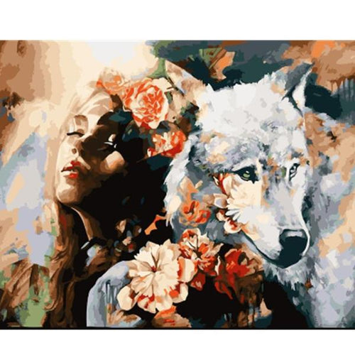 The woman and the wolf (Painting by Numbers)