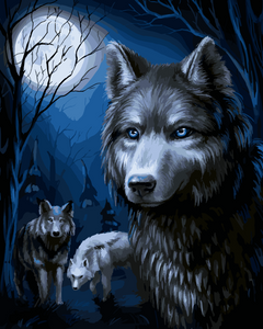 Wolves in the moonlight (Painting by Numbers)