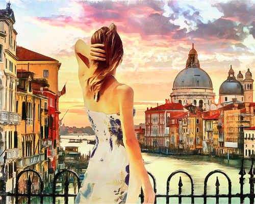 Woman in Venice (Painting by Numbers)