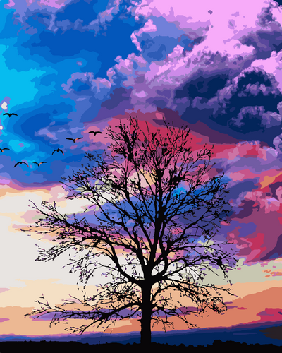 Tree in sunset (Painting by Numbers)