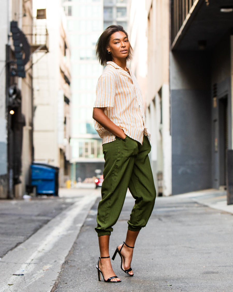 Green Relaxed Pants - MASHELEO