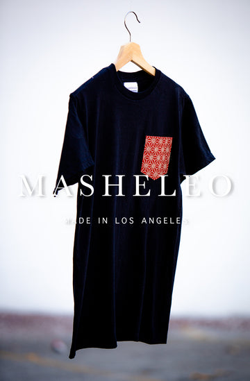Black T-shirt with Japanese Red Hemp - MASHELEO