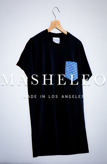 T-shirt with Japanese Blue Stripe - MASHELEO