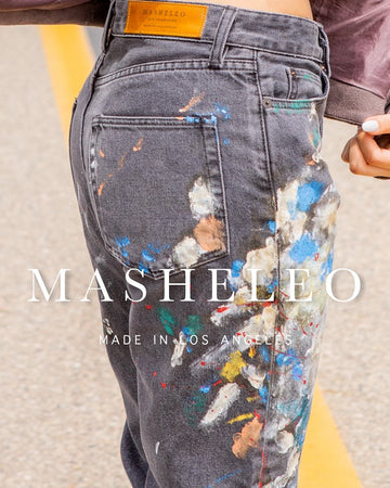 Painted Denim Pants - MASHELEO