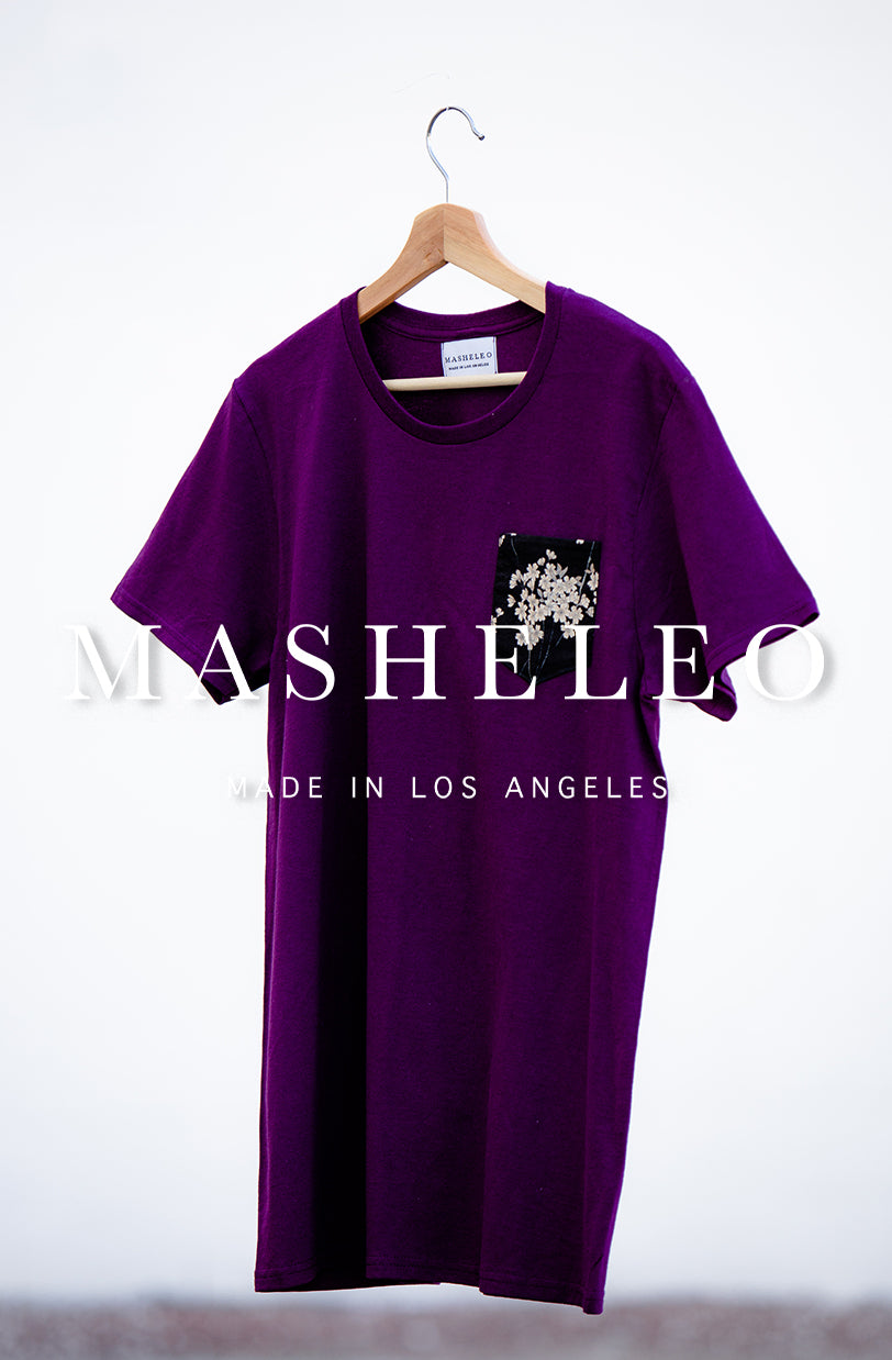 Japanese Purple T-shirts with Black Cherry Blossoms - MASHELEO