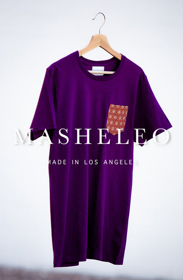 Japanese Purple T-shirt with Red Hemp - MASHELEO
