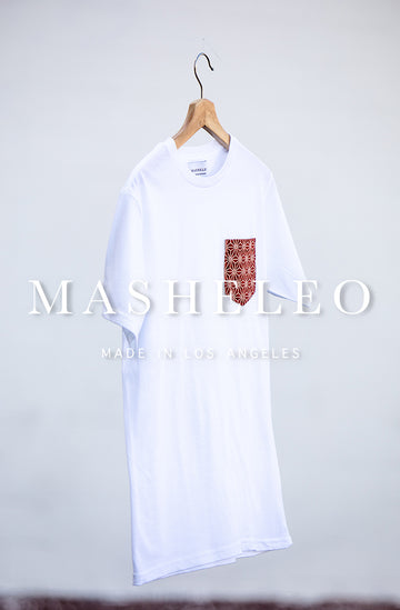 White T-shirt with Japanese Red Hemp - MASHELEO