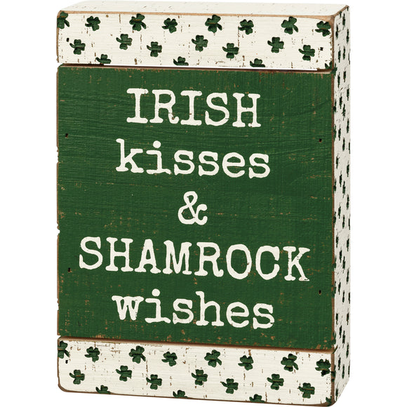 Irish Kisses & Shamrock Wishes Sign