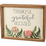 Thankful Grateful Blessed Inset Box Sign