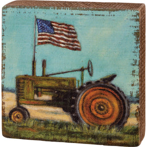 Tractor With Flag Block Sign