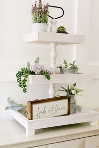 Rustic Three Tier White Wash Tray