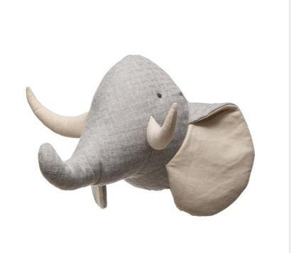Adorable Linen Elephant Wall Mount