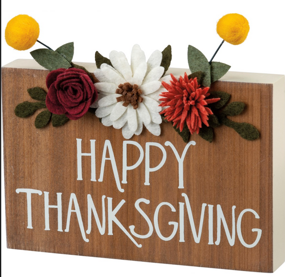 Happy Thanksgiving Block Sign