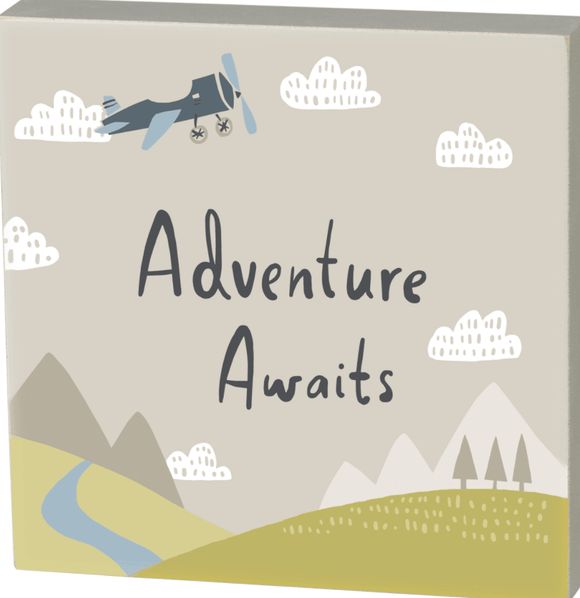 Adventure Awaits Block Sign