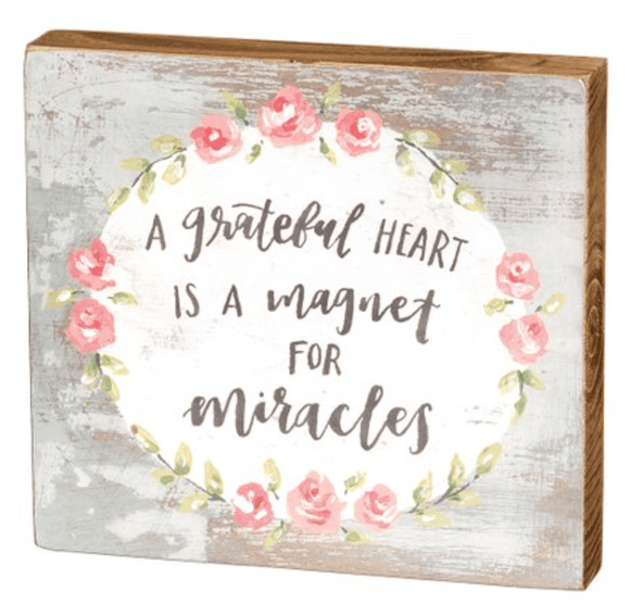 A Grateful Heart Block Sign