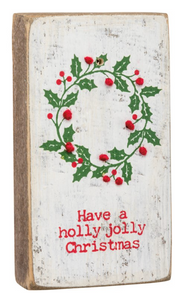 Stitched Block - Holly Jolly