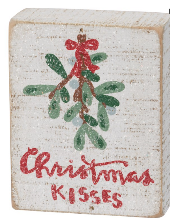 Slat Box Sign - Christmas Kisses