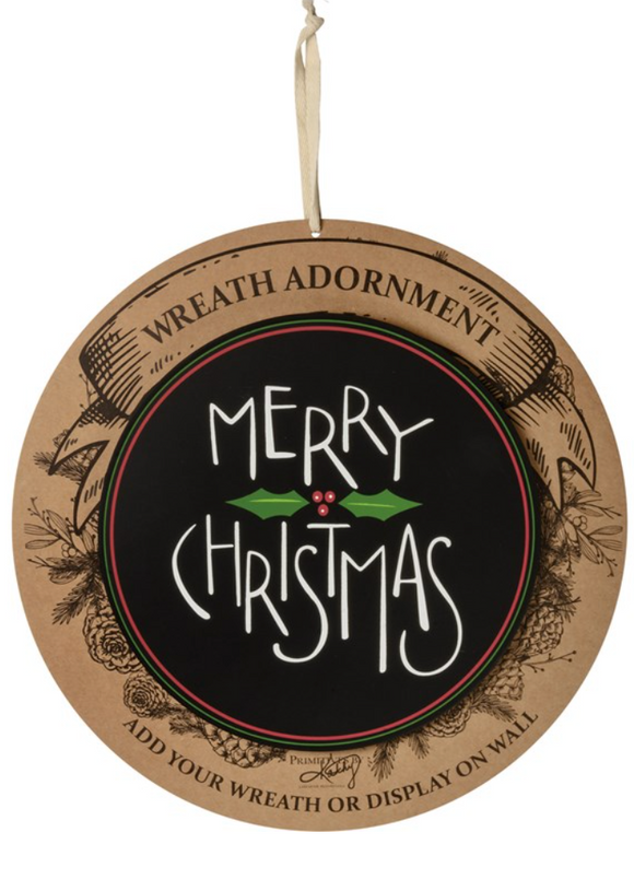 Black Merry Christmas Wreath Insert