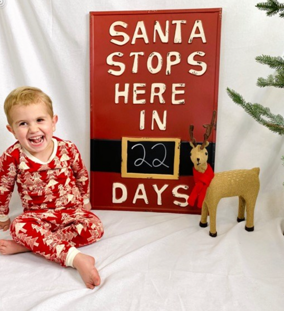 Extra large Santa Count Down Chalk Board Sign