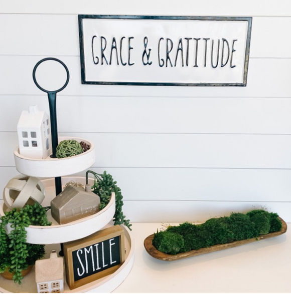 Grace & Gratitude Embossed Enameled Sign