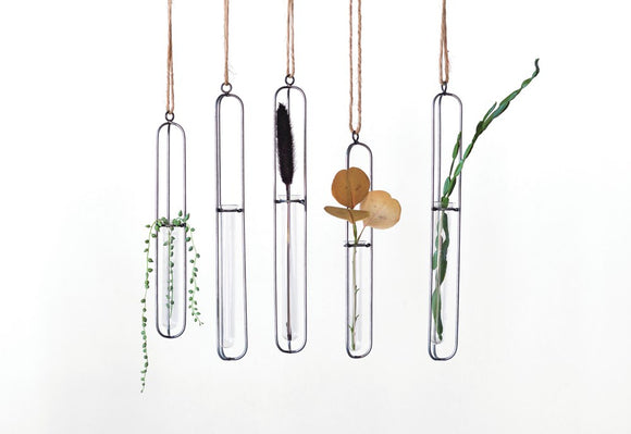 Metal & Glass Hanging Test Tube Vase w/ Jute Hanger