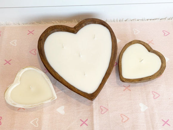 Large Hand Carved Heart Candle With Love Spell Fragrance