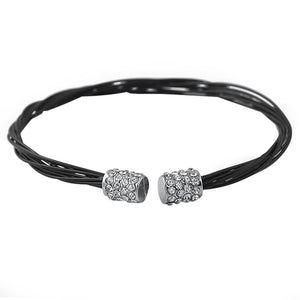 Rhodium Guitar String Style Black Bracelet