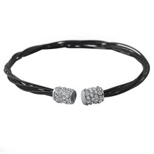 Load image into Gallery viewer, Rhodium Guitar String Style Black Bracelet