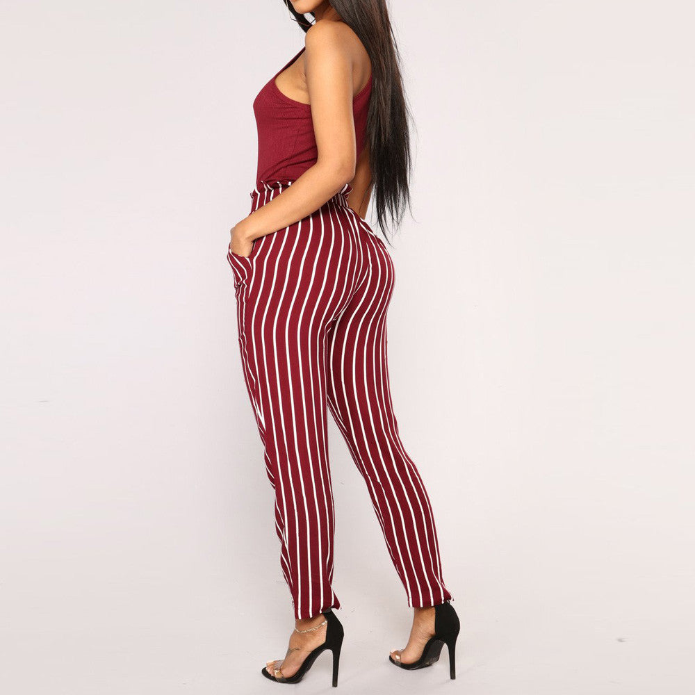 Belted Striped Pencil Pants