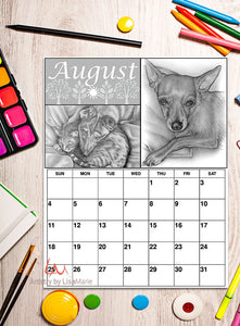 Printable Calendar Coloring Page: August with Chihuahua Dog and Cat