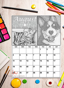 Printable Calendar Coloring Page: August with Dog and Cat