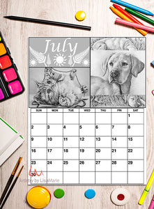 Printable Calendar Coloring Page: July with Dog and Kitten