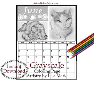 Printable Calendar Coloring Page: June with Cat and Dog, , ArtistrybyLisaMarie
