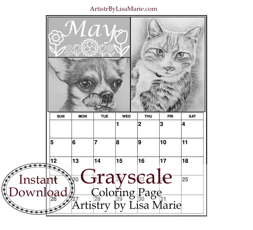 Printable Calendar Coloring Page: May with Cat and Dog, , ArtistrybyLisaMarie