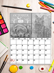 Printable Calendar Coloring Page: October with Cat and Dog, , ArtistrybyLisaMarie