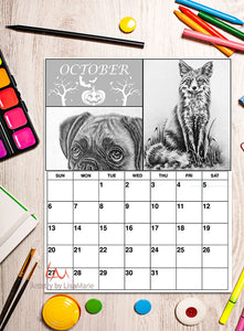 Printable Calendar Coloring Page: October with Fox and Dog, , ArtistrybyLisaMarie