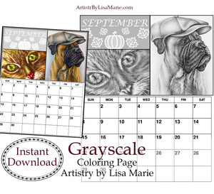 Printable Calendar Coloring Page: September with Dog and Cat