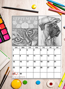 Printable Calendar Coloring Page: September with Boxer Dog and Cat, , ArtistrybyLisaMarie