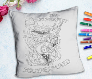 Coloring Throw Pillow: Perfect Bridesmaid, Cat, , ArtistrybyLisaMarie