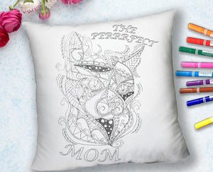 Coloring Throw Pillow: Perfect Mom, Cat
