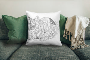 Coloring Pillow: Zendoodle of Cat Pouncing, , ArtistrybyLisaMarie