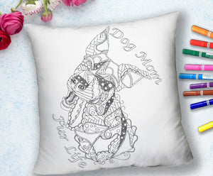 COLORING THROW PILLOW: Dog Mom Fur Life, Funny, , ArtistrybyLisaMarie