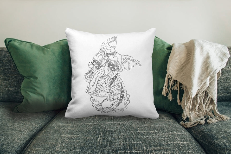 Coloring Pillow: Zendoodle Of Funny Dog, , ArtistrybyLisaMarie